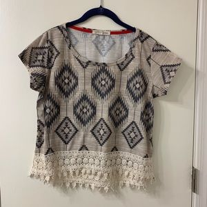 Rewind Tribal Aztec Print Shirt With Lace Bottom S